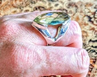 Citrine GEMSTONE Ring, size 8 1/4 US, 925 Sterling Silver, Natural! Marquise, Green/Gold, November Birthstone, Retro, Art Deco, Abundance