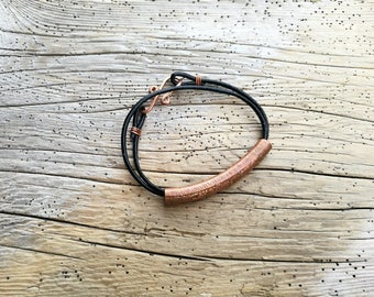 Etched stars copper bracelet, copper tube and leather bracelet