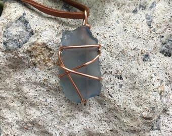 Light Blue Sea Glass Wrap Necklace
