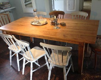 isch, dining table, Oak table, vintage, wood, solid