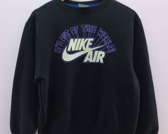 Vintage Nike Air Sweatshirt Big Logo Sportswear Street Wear Round Neck Pullover Sweater Size L