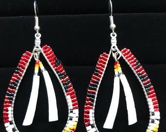 Red teardrop brick stitch beaded earrings