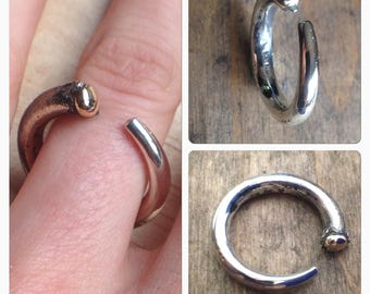 UnEarthed sterling silver and 9ct yellow gold ring