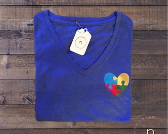 Autism Awareness Puzzled Heart Shirt//Womens Top//Ladies Top//Puzzle Piece//Light it up Blue