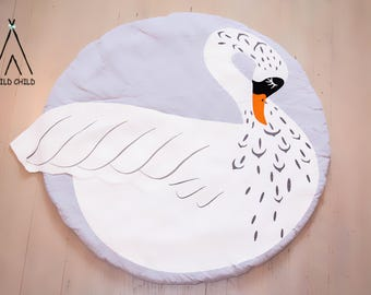 Swan design, round, play mat, nursery décor, crawling mat, baby shower gift, tummy time ,activity mat