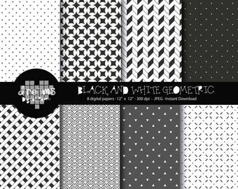 COD047-70% OFF SALE-Black and white geometric digital paper-geometric printablee-black digital paper-scrapbook printable-geometric