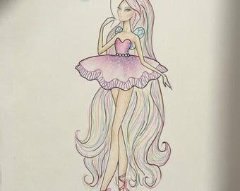 Ballerina fairy print
