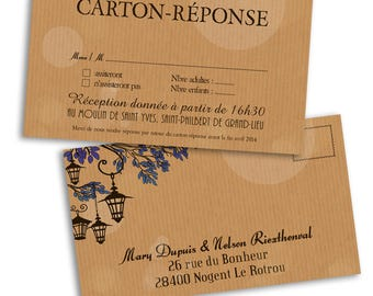 10 x wedding lanterns response card