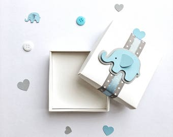 Elephant Favor Boxes Elephant Boy Baby Shower Gift Favor Boxes Blue Gray Elephant 1 st Boy Birthday Favors Candy Box Set of 12