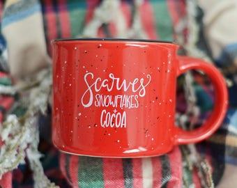 Scarves, Snowflakes & Cocoa Campfire Mug   Christmas Campfire Mug   Campfire Mug   Hand-Lettered