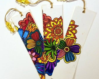 Unique Bookmarks from completed adult coloring pages