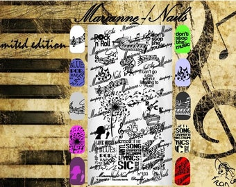 Nail art stamping plaque Marianne ongles musique 133