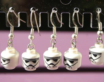 Handmade Lego minifigure earrings. Star Wars Storm Trooper earrings gift. Drop earrings silver plate fixings. Presented in organza gift bag.