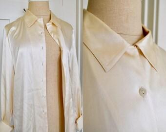 Silk Blouse / Eggshell Blouse / Vintage Silk Top / Silk Button Down