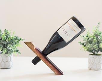 Balancing Wine Bottle Display