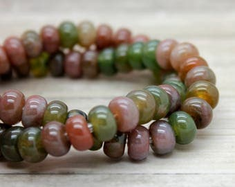 """Green Forest Agate Rondelle Gemstone Beads 8"""" strand (5mm x 8mm beads, 2.5 mm hole)"""