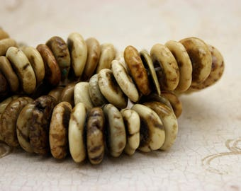 Picture Jasper Beads, Rough Flat Nugget Chip Jasper Beads (Assorted Size)