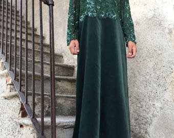 Emerald green silk velvet dress with beaded bodice