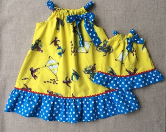 Curious George Dress and matching 18 inch doll dress, Curious George Pillowcase Dress, Handmade Girls Dress, Summer Dress