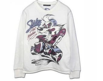Pure cotton embroidered white collar cartoon long sleeved T-shirt