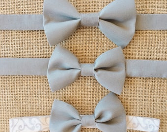 Dark Gray Bow Tie,Father and Son Bow ties, Daddy and Me Bow ties headbands, wedding tie, baptism tie, outfit, christening, prom tie, ring be