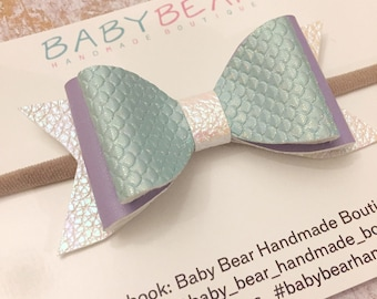 Mermaid Bow, Leather Bow, Glitter Bow, Hair Bow, Baby Headband, Toddler Hair Clip, Girls Hair Accessories, Baby Bow, Toddler Bow
