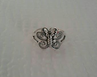Toe Ring, Solid Sterling Silver Butterfly Toe Ring, Body Jewelry