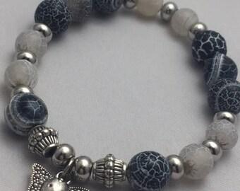 Gemstone Beached Bracelet with Elephant Charm