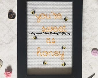 You're Sweet As Honey Framed Cross Stitch