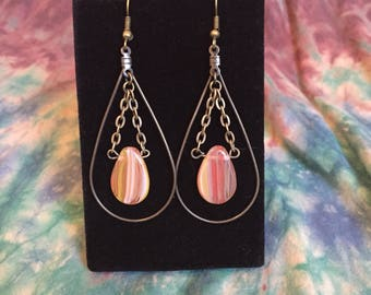 Teardrop Brass & Flame Glass Dangle and Drop Earrings