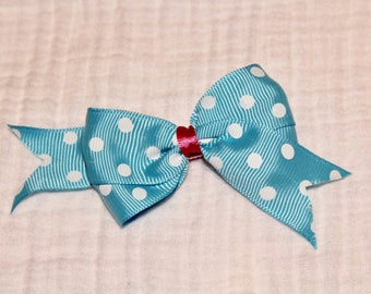 Blue Pink and White Clip Bow