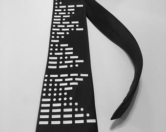 Morse Code  Cool Necktie (A-Z,  1-9, 0) or your choice of text