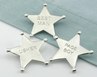 Pewter Best Man wedding sheriffs badge/ Page Boy Badge/Usher Badge
