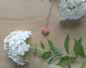 Crochet, handmade gift heart pendant long chain necklace