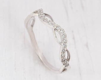 Eternity ring silver, Eternity band silver, White eternity ring, CZ eternity ring, Infinity ring, White CZ eternity, Eternity wedding band