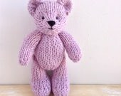 Newborn Props, Photo props, lavender knitted teddy bear, baby alpaca toy, stuffed animals, soft toys, first birthday gift, softies, 6 inch