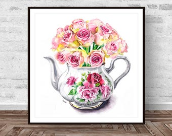 Flower in teapot, illustration, wall art print, watercolor print