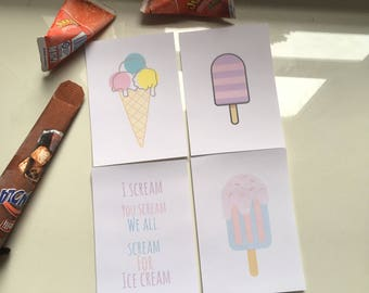 I scream pack of four ice cream prints A6