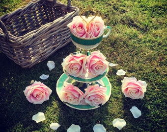 Bespoke Tea Cup Cake Stand made with vintage china made to order
