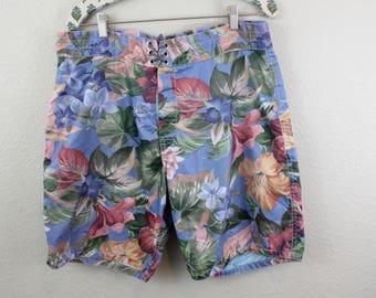 Vintage Birdwell Beach Britches Pastel Flower print Swim Trunks // Sz. 34/35