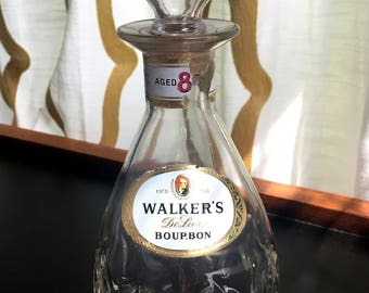 SALE! – Vintage Walker's DeLuxe Bourbon Decanter – Empty Liquor Bottle
