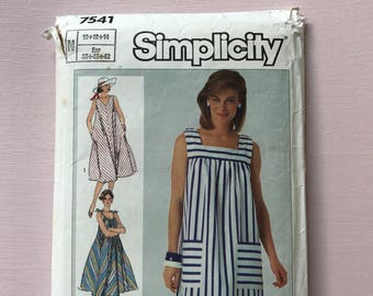 Simplicity 7541 vintage retro easy to sew 1980's sundress cover-up sewing pattern Size 10-14