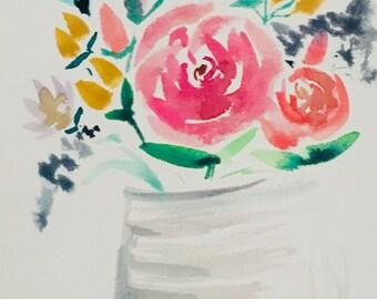 Florals in vase || watercolor