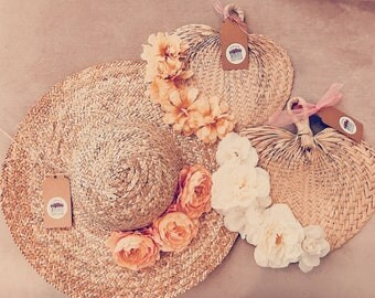 Raffia fans, raffia bridal fans, raffia bridesmaid fans, raffia hand fan, straw fans, floral embellished fan