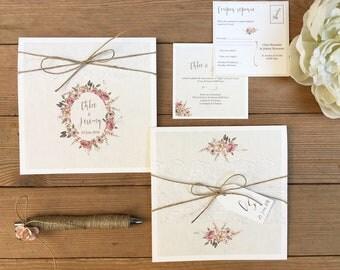 Papeterie mariage thème champêtre, floral, romantique, ficelle, bois