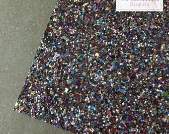Chunky multi-coloured Glitter Fabric - Craft & Bow Maker Fabric - A4 Sheet