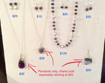Amethyst necklace , pendants , and earrings