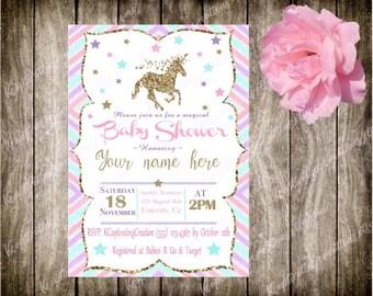 gold silver unicorn baby shower invitation *DIGITAL FILE*