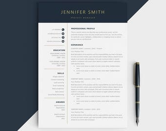 Modern resume template - Modern CV for Microsoft word - Instant digital download - Cover letter included - Modern resume design gold