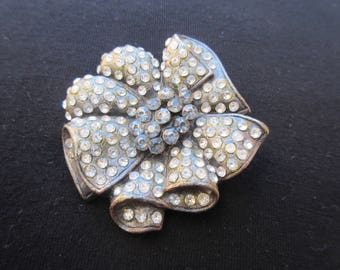 Vintage Pewter Flower Brooch with Clear and Grey Rhinestones